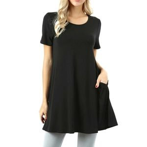Zenana Premium Tunic Top Black Knit Pockets